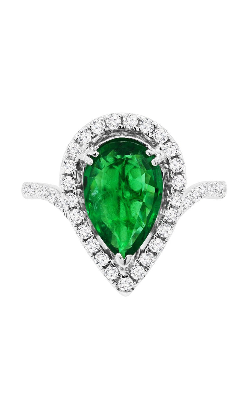 18K White Gold Green Emerald and Diamond Ring, Rings, Nazar's & Co. - Nazar's & Co.