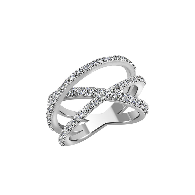 14K White Gold Criss Cross Diamond Ring - Nazar's & Co.