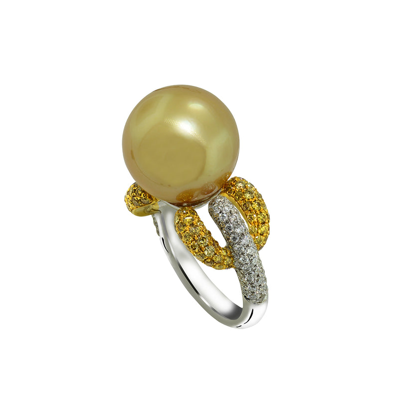 18K White and Yellow Gold Golden South Sea Pearl Yellow and White Diamond Ring, Rings, Nazar's & Co. - Nazar's & Co.