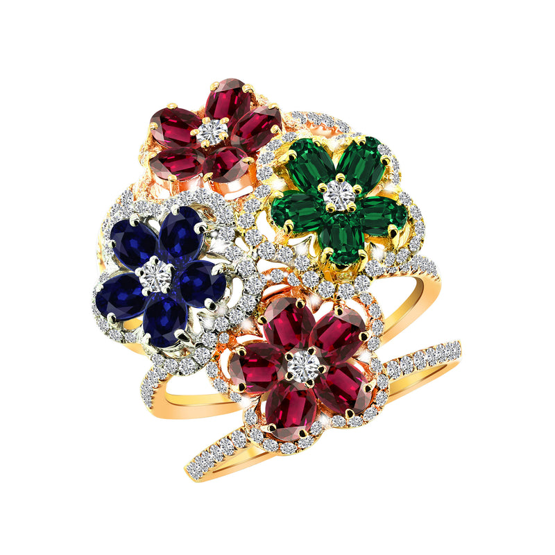 Floral Ruby, Emerald, Blue Sapphire, and Diamond Ring - Nazar's & Co.