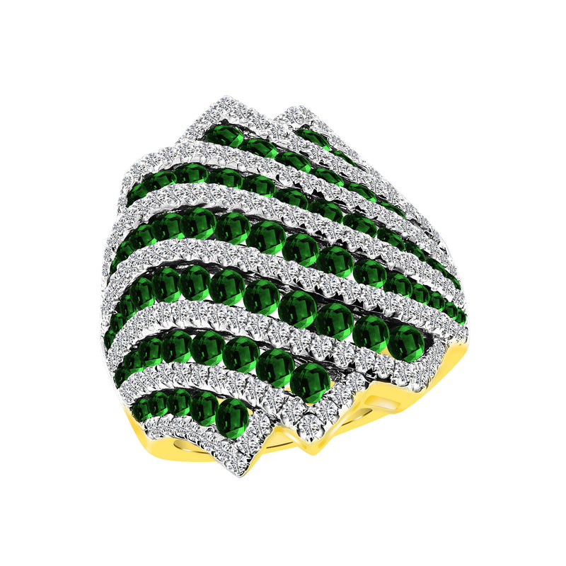 18K Yellow Gold Emerald and Diamond Ring, Rings, Nazar's & Co. - Nazar's & Co.