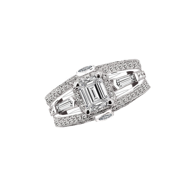 14K White Gold 1.00 Carat Emerald Cut Diamond Engagement Ring - Nazar's & Co.