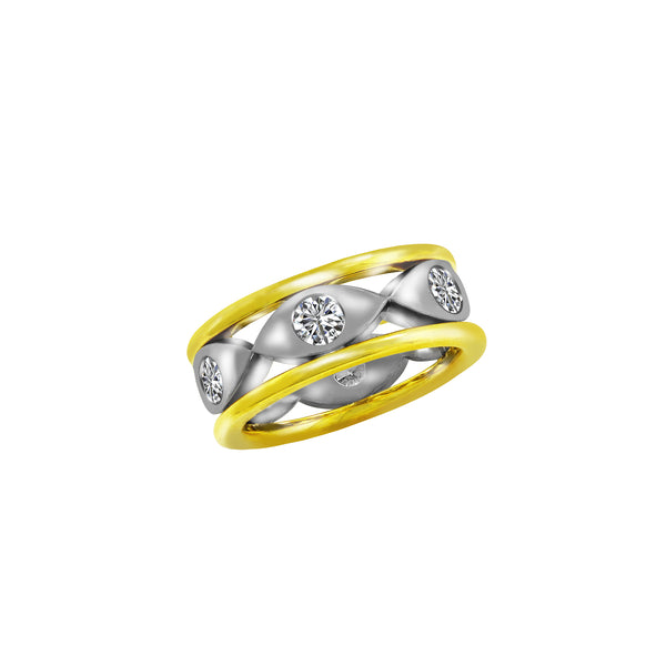 18K White and Yellow Gold Diamond Band - Nazar's & Co.