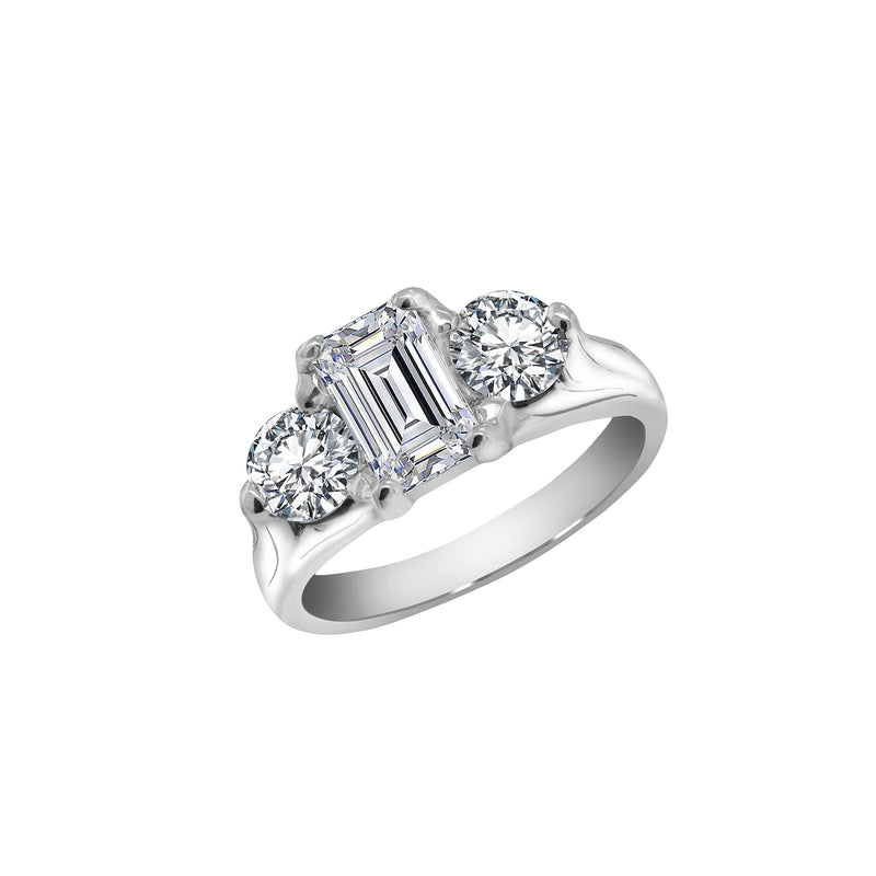14K White Gold 1.27 Carat Emerald Cut Diamond Engagement Ring, Rings, Nazar's & Co. - Nazar's & Co.