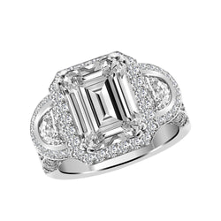 14K White Gold Emerald Cut Diamond Engagement Ring Setting, Rings, Nazar's & Co. - Nazar's & Co.