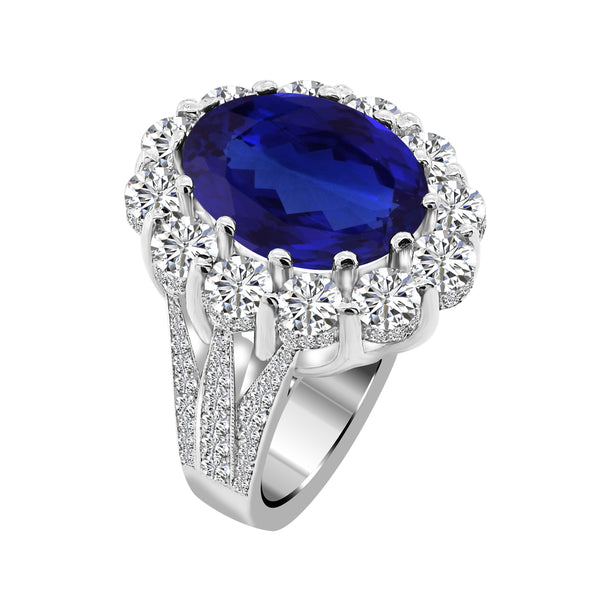 14K White Gold Tanzanite and Diamond Ring, Rings, Nazar's & Co. - Nazar's & Co.