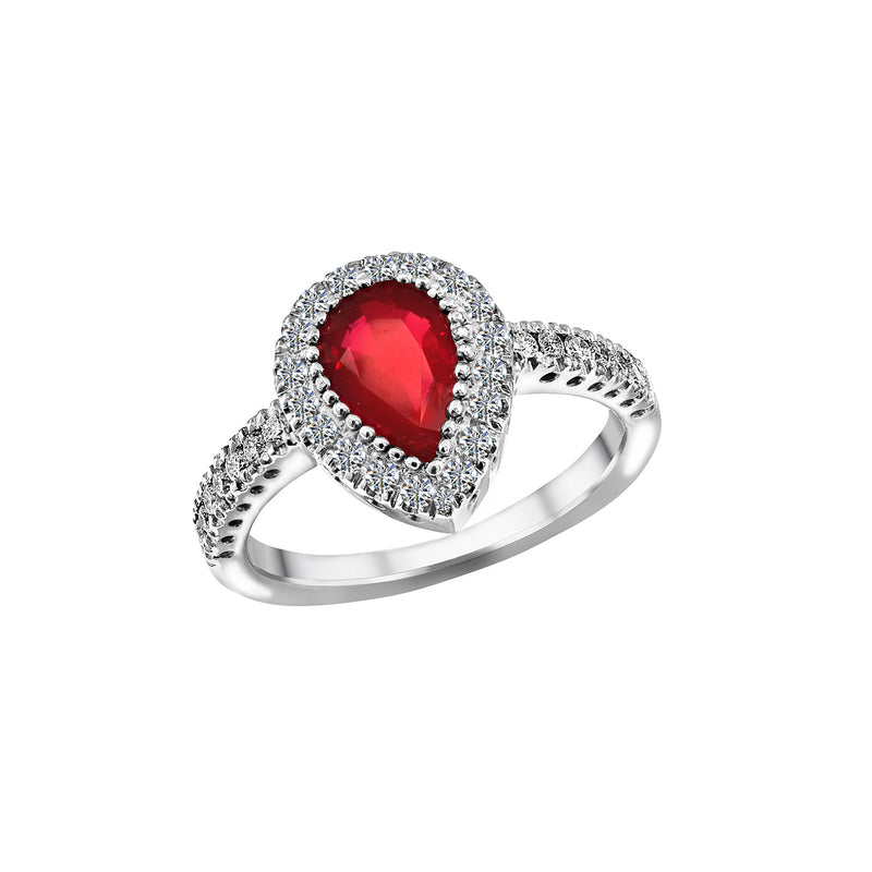14K White Gold 1.30 Carat Ruby and Diamond Ring, Rings, Nazar's & Co. - Nazar's & Co.