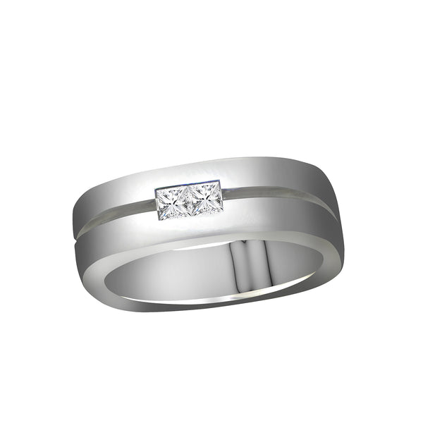 Men's 14K White Gold Princess Cut Diamond Ring, Rings, Nazar's & Co. - Nazar's & Co.