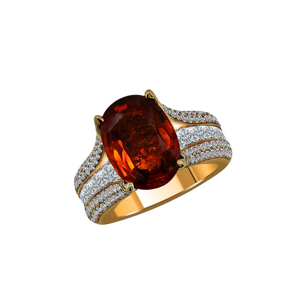 14K Rose Gold Orange Sapphire and Diamond Ring, Rings, Nazar's & Co. - Nazar's & Co.