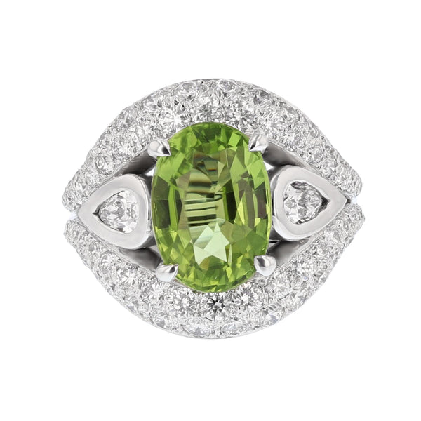 Nazar Couture Peridot and Diamond Cocktail Ring