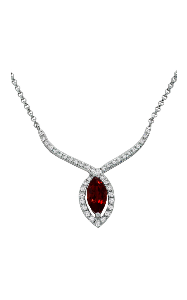 14K White Gold Garnet and Diamond Pendant - Nazar's & Co.