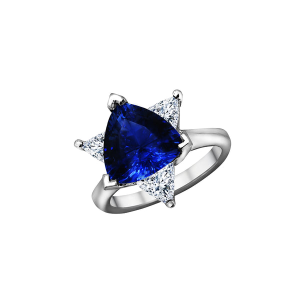 Nazar Couture Platinum Blue Sapphire and Diamond Ring, Rings, Nazar's & Co. - Nazar's & Co.