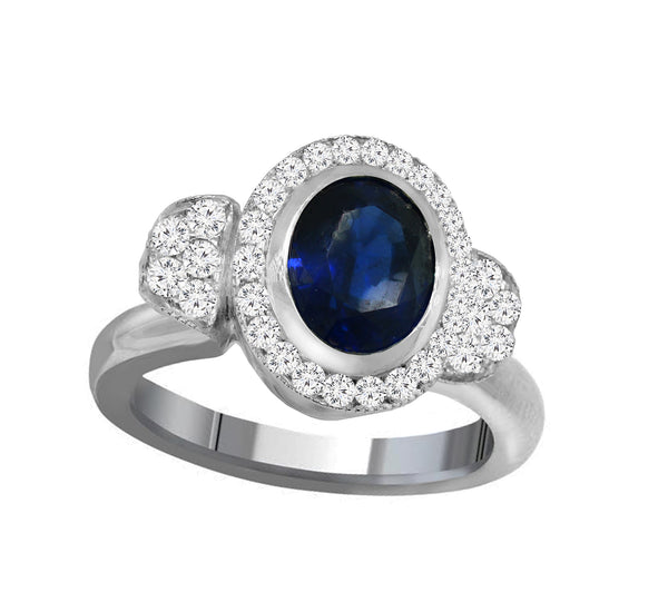 Platinum Blue Sapphire and Diamond Ring - Nazar's & Co.