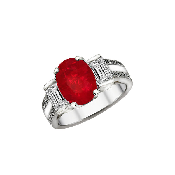 Platinum, Ruby & Diamond Ring, Rings, Nazar's & Co. - Nazar's & Co.