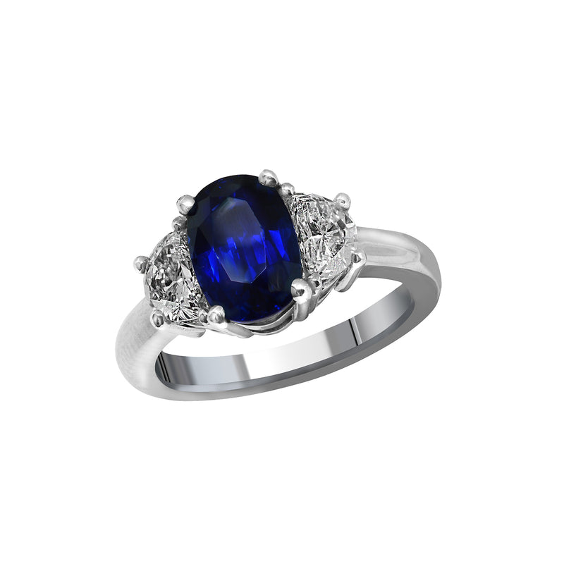 Platinum 3.14 Carat GIA Certified Blue Sapphire and Diamond Ring, Rings, Nazar's & Co. - Nazar's & Co.