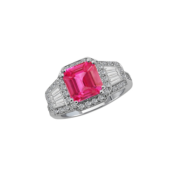 14K White Gold Pink Sapphire and Diamond Ring, Rings, Nazar's & Co. - Nazar's & Co.