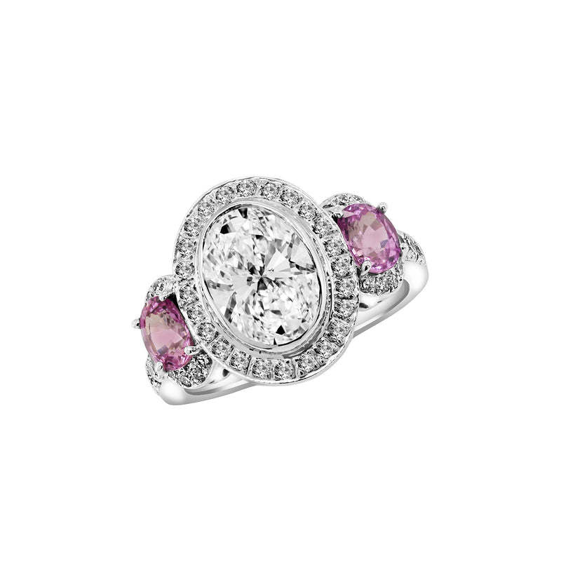 14K White Gold Diamond and Pink Sapphire Engagement Ring, Rings, Nazar's & Co. - Nazar's & Co.