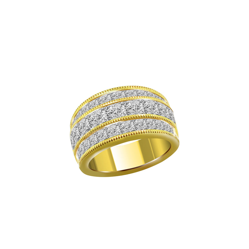 14K Yellow Gold Princess Cut Diamond Band - Nazar's & Co.