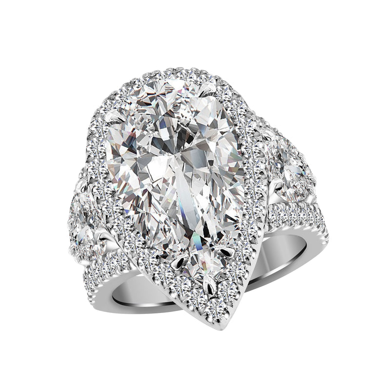 14K White Gold Pear Diamond Engagement Ring, Rings, Nazar's & Co. - Nazar's & Co.