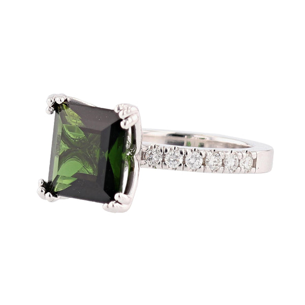 14K White Gold Princess Cut 4.20 Carat Green Tourmaline and Diamond Ring - Nazar's & Co.