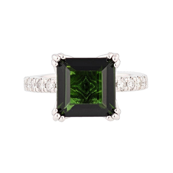 14K White Gold Princess Cut 4.20 Carat Green Tourmaline and Diamond Ring, Rings, Nazar's & Co. - Nazar's & Co.