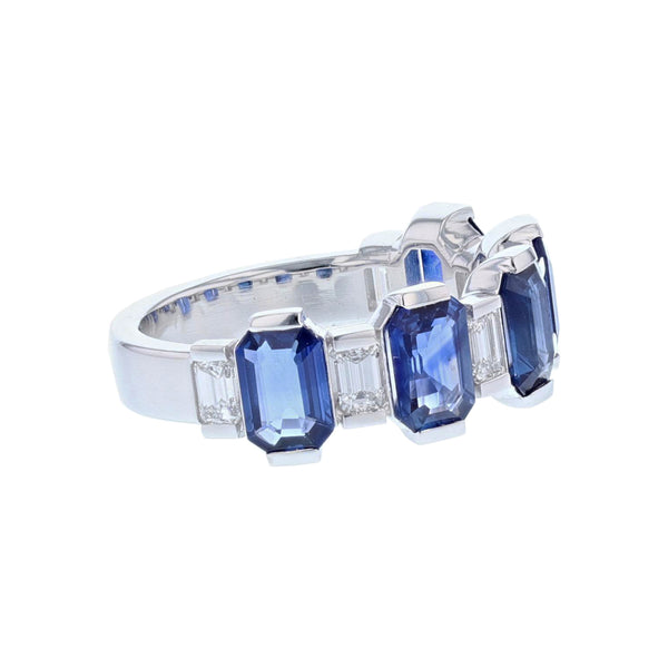 14K White Gold Blue Sapphire and Diamond Band - Nazar's & Co.