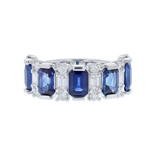 14K White Gold Emerald Cut Blue Sapphire and Diamond Band, Rings, Nazar's & Co. - Nazar's & Co.