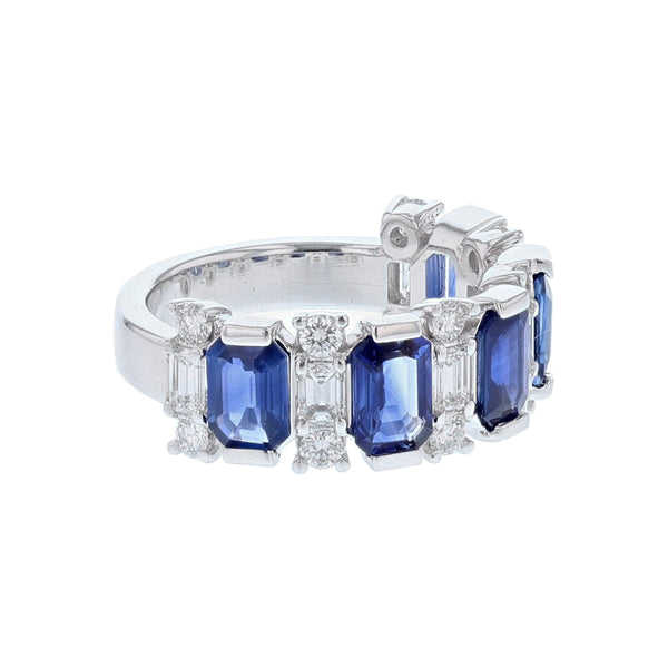 14K White Gold Emerald Cut Blue Sapphire and Diamond Band - Nazar's & Co.