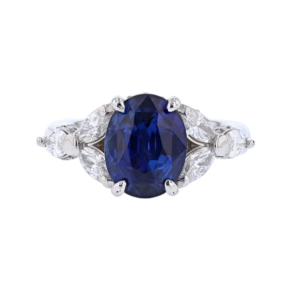 Platinum 5.01 Carat Certified Oval Cut Sri Lankan Blue Sapphire and Diamond Ring - Nazar's & Co.