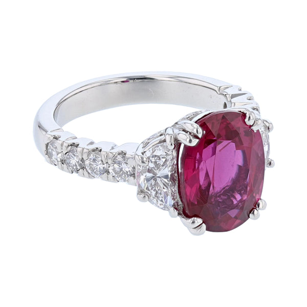 Platinum 5.61 Carat Certified Oval Cut Ruby and Diamond Ring - Nazar's & Co.