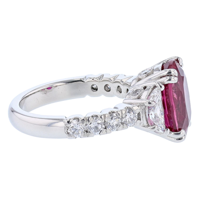 Platinum 5.61 Carat Certified Oval Cut Ruby and Diamond Ring, Rings, Nazar's & Co. - Nazar's & Co.
