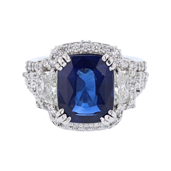 Platinum 6.58 Carat Sri Lankan Cornflower Blue Ceylon Sapphire and Diamond Ring - Nazar's & Co.