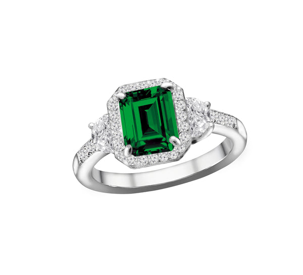14K White Gold Emerald and Diamond Ring, Rings, Nazar's & Co. - Nazar's & Co.