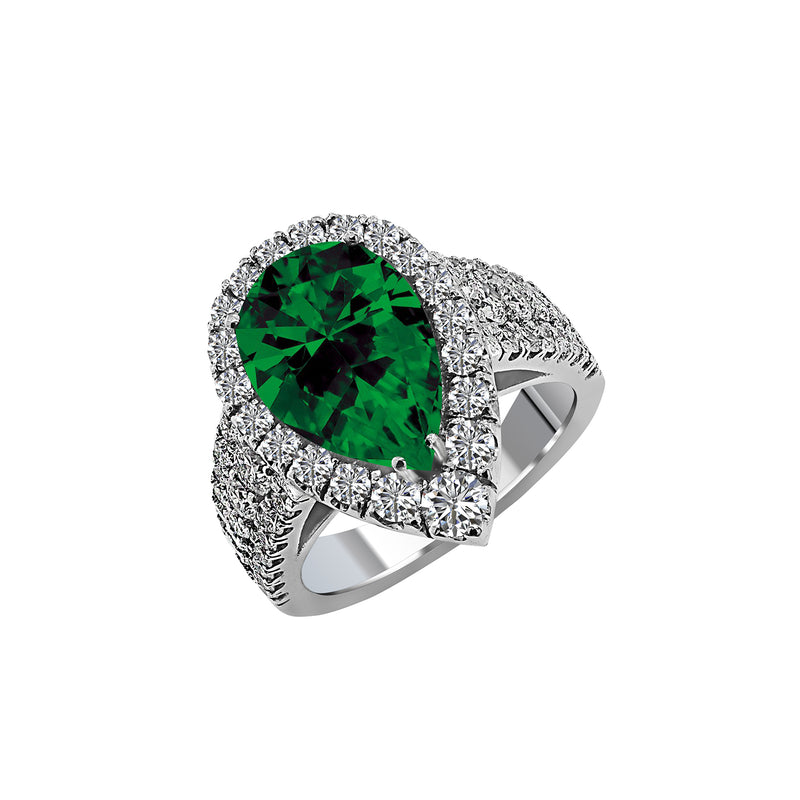14K White Gold Pear-Shaped Emerald and Diamond Ring, Rings, Nazar's & Co. - Nazar's & Co.