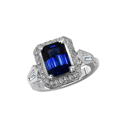 Platinum 4.01 Carat Blue Sapphire and Diaimond Ring - Nazar's & Co.