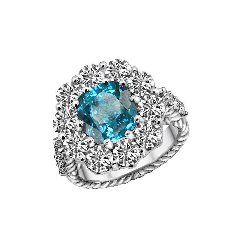 14K White Gold Blue Zircon and Diamond Ring, Rings, Nazar's & Co. - Nazar's & Co.
