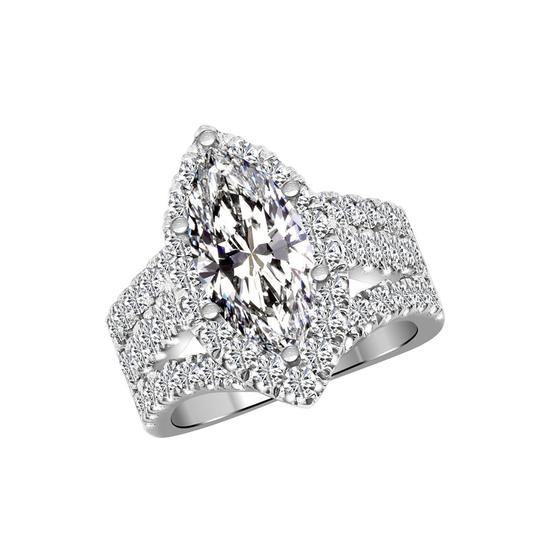 14K White Gold Diamond Engagement Ring Setting - Nazar's & Co.