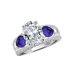 14K White Gold Diamond and Blue Sapphire Engagement Ring Setting - Nazar's & Co.