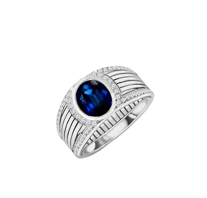 Men's 14K White Gold Oval Blue Sapphire and Diamond Ring, Rings, Nazar's & Co. - Nazar's & Co.