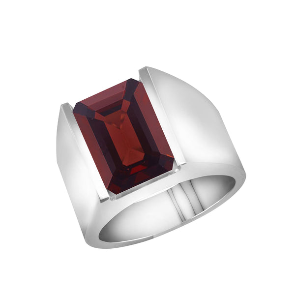 Men's 14K White Gold and Garnet Ring, Rings, Nazar's & Co. - Nazar's & Co.