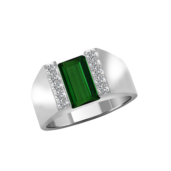 Men's 14K White Gold Emerald Cut Green Tourmaline and Diamond Ring, Rings, Nazar's & Co. - Nazar's & Co.