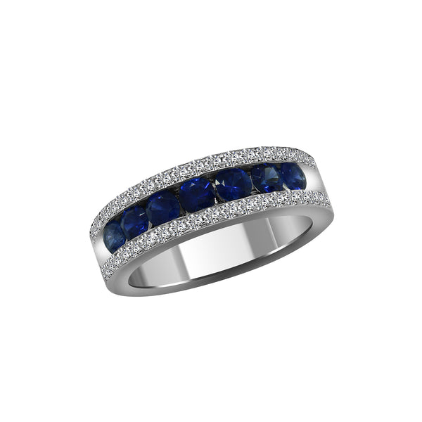 Men's 14K White Gold Diamond and Blue Sapphire Ring