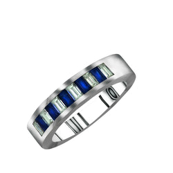 Men's 14K White Gold Blue Sapphire and Diamond Ring - Nazar's & Co.
