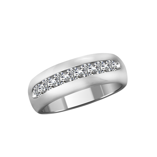 Men's 14K White Gold and Diamond Band, Rings, Nazar's & Co. - Nazar's & Co.