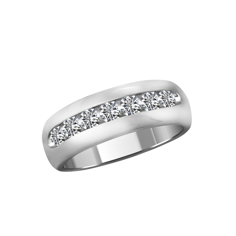 Men's 14K White Gold and Diamond Band - Nazar's & Co.