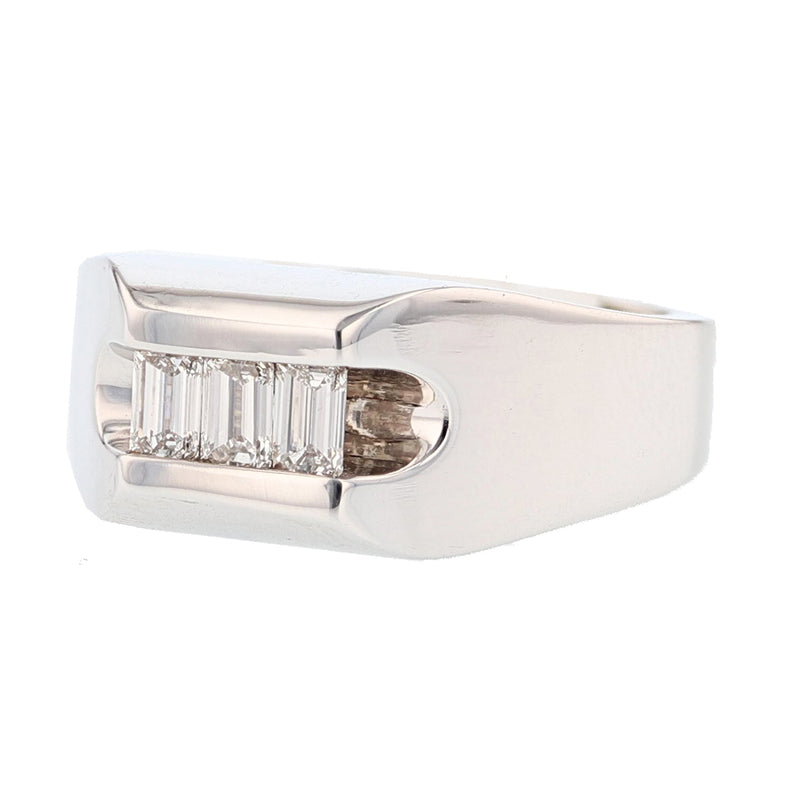 14K Men's White Gold Emerald Cut Diamond Ring, Rings, Nazar's & Co. - Nazar's & Co.
