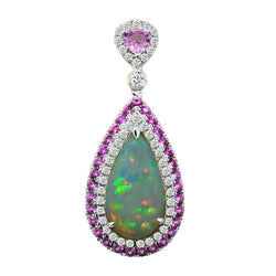 Spark Creations Opal, Pink Sapphire, and Diamond Pendant Necklace, Necklaces, Nazar's & Co. - Nazar's & Co.