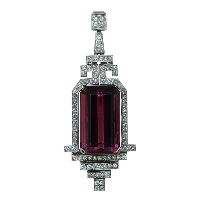 Spark Creations Pink Tourmaline and Diamond Pendant Necklace, Necklaces, Nazar's & Co. - Nazar's & Co.
