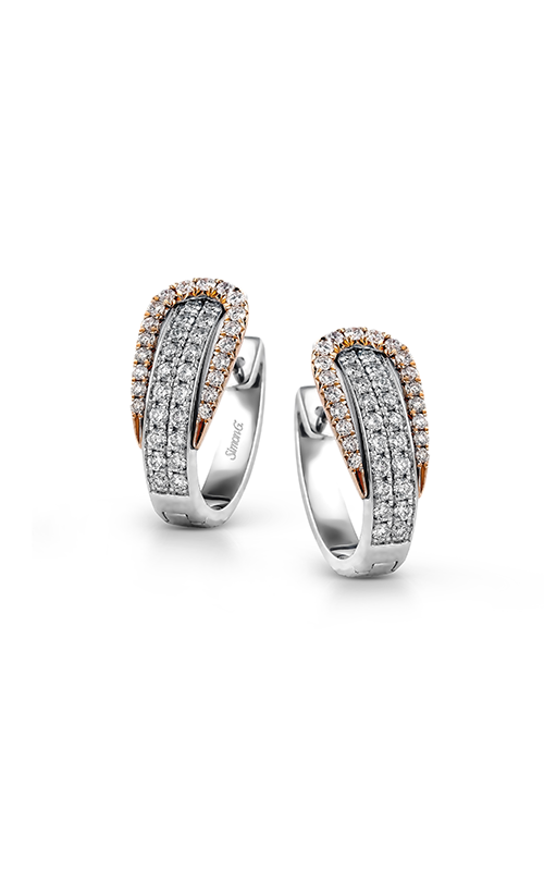 Buckle Collection 18K White and Rose Gold Diamond Earrings, Earrings, Nazar's & Co. - Nazar's & Co.