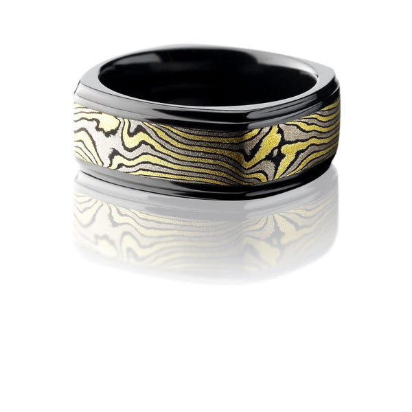 Lashbrook Mokume Acid Bead Polished Men's Wedding Band, Rings, Nazar's & Co. - Nazar's & Co.